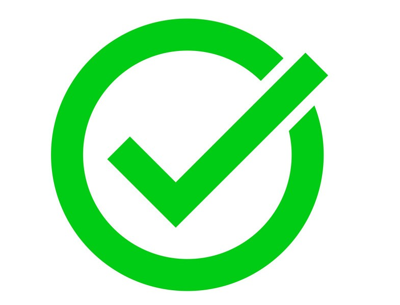 Green tick or marker checkmark vector icon for checkbox symbol in circle